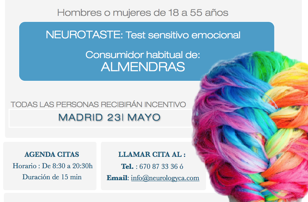 CONVOCATORIA NEUROTASTE: TEST SENSITIVO EMOCIONAL ALMENDRAS